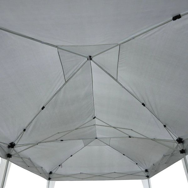 Outsunny Pavilion Pliabil pentru Grădină cu 6 Panouri Laterale, Alb, 3x6m