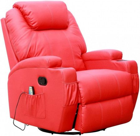 Fotoliu recliner Cinemo, cu masaj, incalzire, rotativ si cu suport pentru bauturi, piele naturala, rosu